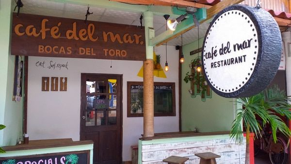 The entrance to a coffee shop called Cafe del Mar in Bocas Town