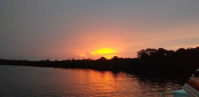 Experiencing a sunset while on anchor on our boat in Bocas del Toro