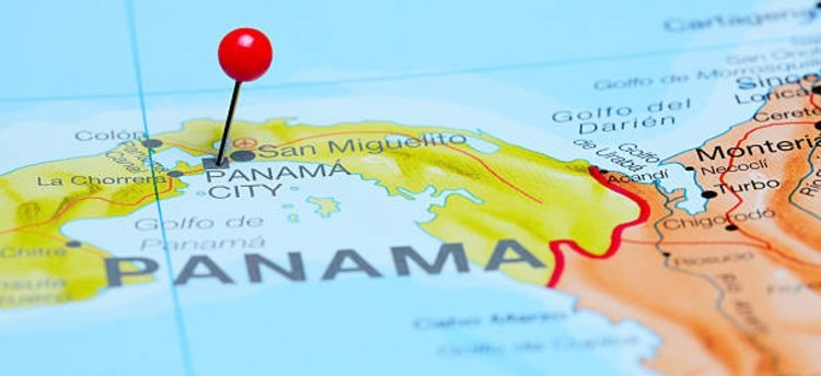 Panama City pin on map